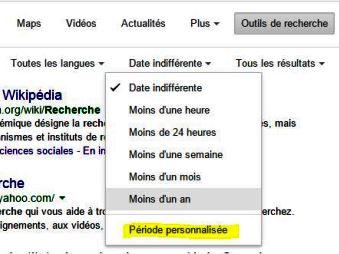 Recherche par date dans Google